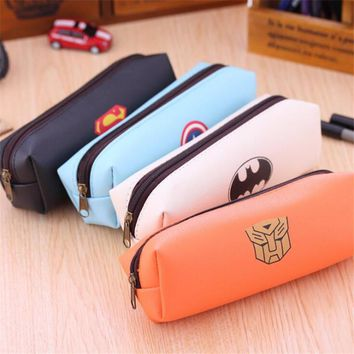 1Pcs New Creative Superman Hero Series School Pencil Cases PU Pen Case Batman Captain America Transformers H2285