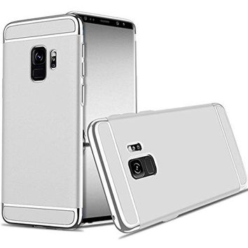 For Galaxy S9 Plus Case,JOBSS Hybrid Luxury Shockproof Armor Back Ultra-thin Case Cover Removable case for Samsung Galaxy S9 Plus Silver