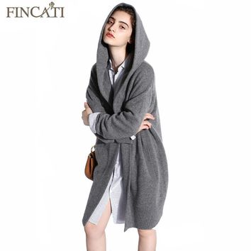 Women Cardigan 2018 High-End Spring Autumn Pure Cashmere Open Stitch Hooded Cardigans Fluffy Sweater Outwear Clothing