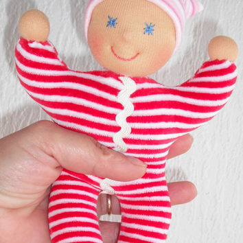 Waldorf Doll, Waldorf baby doll with sleeping bag, Pocket doll, Soft baby toy, First doll, Rag doll, Cloth doll, Ecofriendly, Handmade
