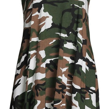 Camouflage Print Strap Dress