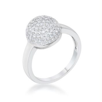 Brie 0.6ct CZ Rhodium Contemporary Sphere Ring, Size 5