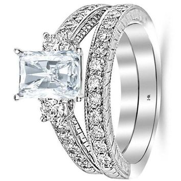 .3.03 Ctw 14K White Gold GIA Certified Radiant Cut Three Stone Vintage with Milgrain & Filigree Bridal Set with Wedding Band & Diamond Engagement Ring, 2 Ct D-E VS1-VS2 Center