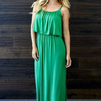 Green Solid Overlay Maxi Dress