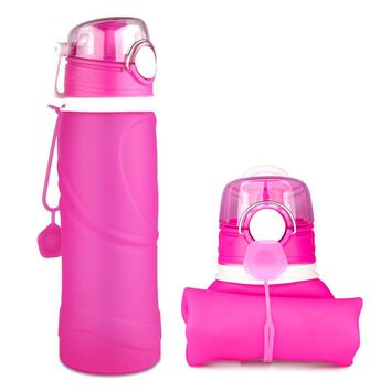 Amazon Choice BPA Free silicone Foldable water Bottle Collapsible Water Bottle with Filter for Travel, Camping, Outdoor