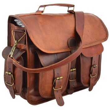 Men Real Vintage Rare Leather Satchel Messenger Man Handbag Laptop Briefcase Bag