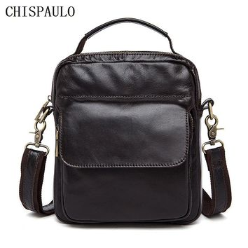 CHISPAULO Genuine Leather Bag Fashion Handbags Cowhide Briefcase tote shoulder laptop men's travel bag leisure men's new T719
