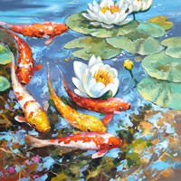 """Carps —  PALETTE KNIFE Oil Painting On Canvas By by Dmitry Spiros - Size: 28"""" x28"""" (70x70cm)"""