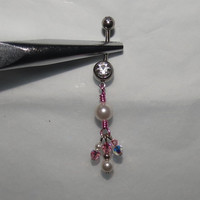 Belly Ring with Pink Wire Wrap, Swarovski Crystals and Pearls