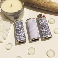 Black and White Mandala or Marble Metal Lighter Case