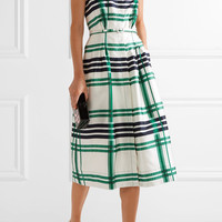 Oscar de la Renta - Plaid silk and cotton-blend midi dress