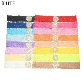 ONETOW 16pcs/lot Stretchy Lace Headband with Pearl Rhinestone Button Hair Band Little Kids Photography Props ZF014