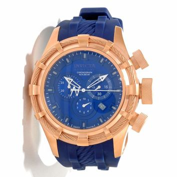 Invicta 11817 Men's Reserve Bolt Sport Blue Dial Blue Rubber Strap Rose Gold Tone Stainless Steel Chronograph Dive Watch