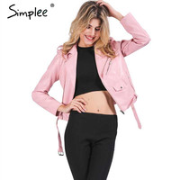 Simplee Zipper PU leather jacket coat Short black motorcycle jacket with pocket 2016 Classic basic winter jacket women outwear