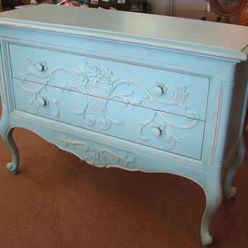 Vintage Reclaimed French Cottage Shabby Chic Covington Blue Paint Floral Credenza Console Chest of Drawers Dresser (call for a ship quote)