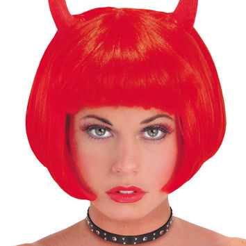 costume accessory: wig devil red with horns Case of 2