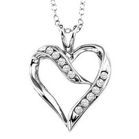 Sterling silver and diamond heart shaped necklace