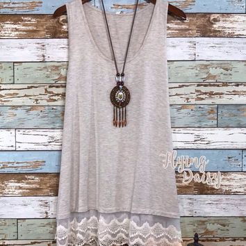 Everyday Oatmeal Lace Extender Tank Top