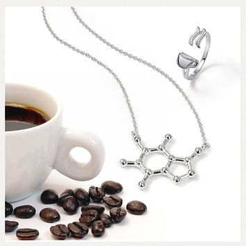 Caffeine Coffee Molecule Pendant Necklace 14K Gold Plated Sterling