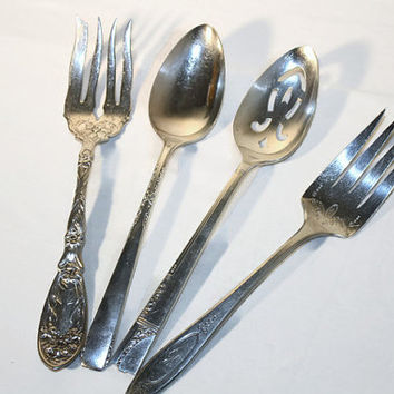 Mismatched Silver Plate Serving Pieces, Fork, Slotted Spoon, Oneida, Rogers, Community