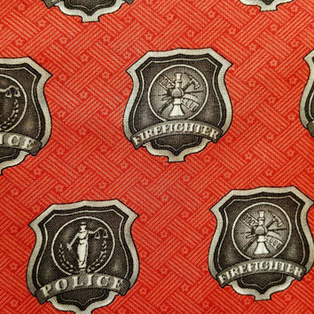 america - heroes - firefighter - police - badge  - fabric - cotton - quilting