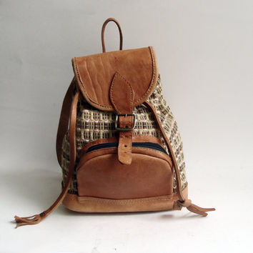 small book bag / leather fabric bookbag / woven fabric / vintage back pack / vintage bag