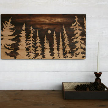 Large Wood Burned Wall Art  - In the Light of the Moon -  30 X 16 inches