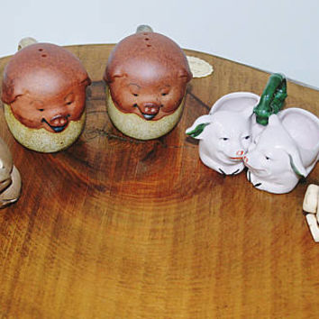 Pig Collection, LPW France Porcelain Pig Salt Cellars, Happy Pig Salt And Pepper Shakers, Pig Pot Sitter, Pig Ornament
