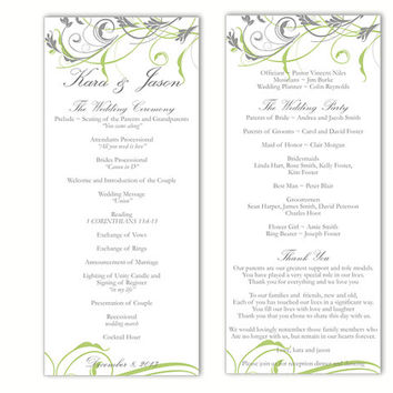 Wedding Program Template DIY Editable Text Word File Download Program Green Gray Program Floral Program Printable Wedding Program 4x9.25inch