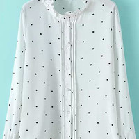 Long Sleeve Ruffle High Neckline Polka Dot White Blouse