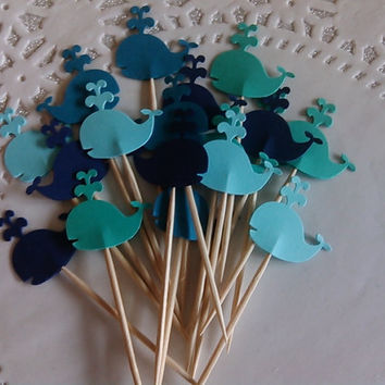 24 Whale Cupcake Toppers - Food Picks - Party Picks - Baby Shower - Birthday Party
