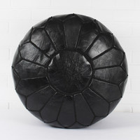 Black Leather Moroccan Pouf
