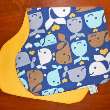 Blue Whales with Hearts Cotton Baby Burp Cloth - Contoured Spit-up Rag - Absorbent Flannel Layer