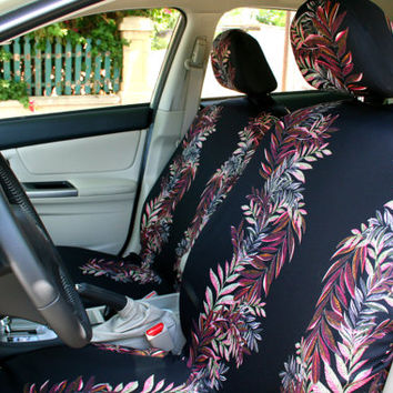 Car Seat Covers Colored Leaves On Black Background 8 Piece Set For FRONT