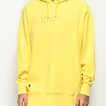 RIPNDIP Logo Embroidered Yellow Hoodie | Zumiez