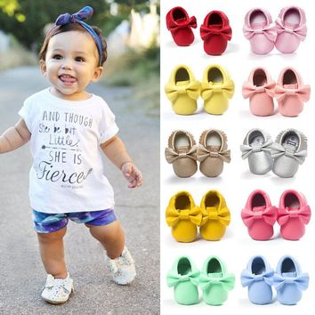 Newborn Infant Baby Boys Clothes Casual Spring Autumn Crib Shoes Bow Solid Slip-On Tassel Shoes 7 Style Outfit 0-18M