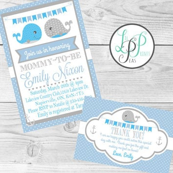 Whale Baby Shower Invitation, Nautical Baby Shower Invitation, Whale Birthday Invitation, Nautical Birthday Invitation, Baby Boy Birthday