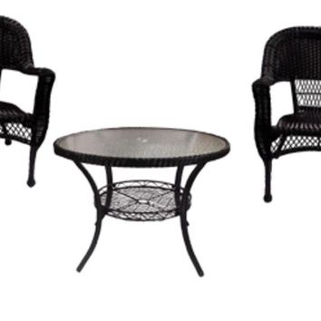 5-Piece Black Resin Wicker Patio Dining Set - Table and 4 Chairs