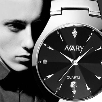 One Women's/Men's Pair Luxury Single Calendar Quartz Stainless Steel Date Wrist Watches