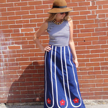 Red White And Blue High Waisted Canvas Floral Skirt