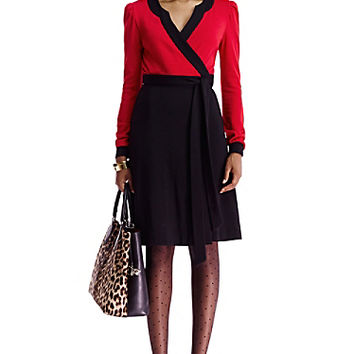 DVF Brette Colorblock Wool Wrap Dress