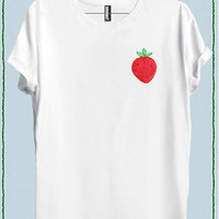 Women Strawberry Tee Crew Neck Top T shirt code20863