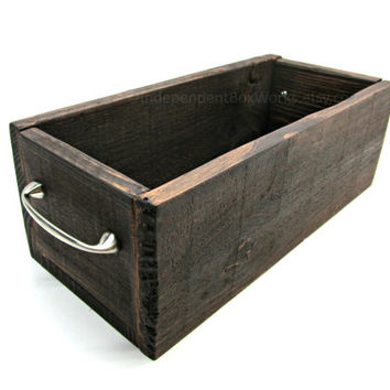 Pallet Wood Flower Box with Metal Handles - Deep Centerpiece Box Made From Reclaimed Wood - Handmade Rustic Wood Planter with Nickel Handles
