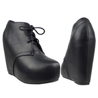 Womens Ankle Boots Sexy Lace Up Hidden Platform High Wedge Shoes Black SZ