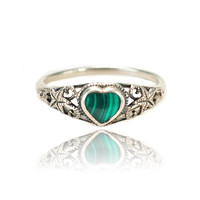 Art Deco PSCo Sterling Silver Malachite Heart Ring