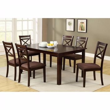 7Pc Spacious Dining Table Set With Fabric Cushion Chair- Espresso