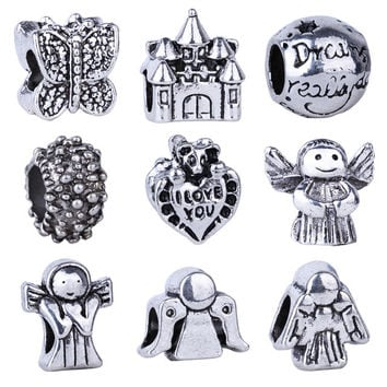1pc Free Shipping Silver Bead Charm European Butterfly Angel Castle Bead Fit Pandora Bracelets & Necklace