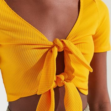 UO Tessa Tie-Front Cropped Top | Urban Outfitters