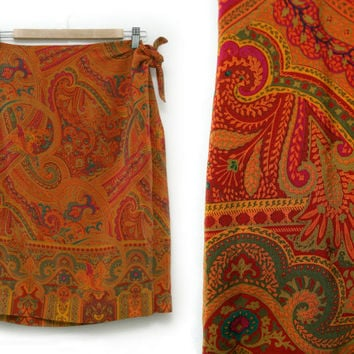 Vintage Silk Skirt~Size Large,Waist 30~60s 70s Boho Hippie Tribal Orange Red Yellow Pink Green Wrap High Waist Skirt~By Ellen Tracy