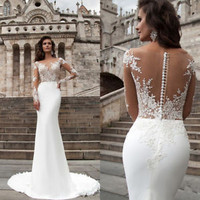 Sheath Long Sleeves Wedding Dress Vintage Bridal Dress Custom Size 2 4 6 8 10 12